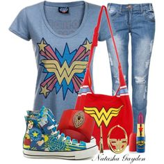 """""""Wonder Woman"""" by natasha-gayden on Polyvore. I would totally rock this whole outfit. Seriously."""