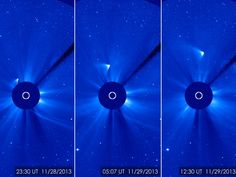 Three view of what's left of Comet ISON rounding the sun.