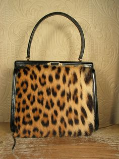 Vintage 50s genuine spotted fur kelly bag purse by MsMoxieVintage