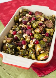 Maple Roasted Brussels Sprouts with Fresh Cranberries