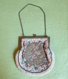 1930s Pastel  Embroidered Purse with White and by dandelionvintage, $48.00