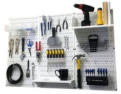 Pegboard Standard Workbench Kit featuring white pegboards with white peg accessories (PN: 30-WRK-400 WW)