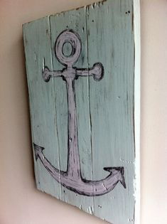 Shabby Chic Beach Decor -  Anchor  via Etsy you could also make it yourself with planks and  paint