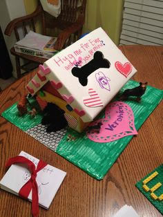 valentine's day box, dog house, puppy themed valentine's day box