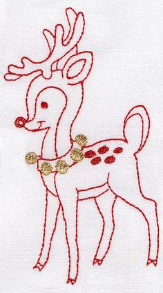 reindeer - I love this - reminds me of the embroidery my Grandma crafted every winter!! (she used coloring books , tracing the picture onto muslin and then sewing!)