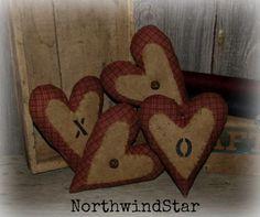 Primitive Valentine Heart Ornie Bowl Filler by northwindstar, $11.99