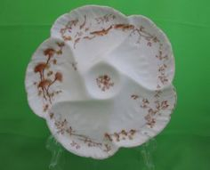 Antique CH Field Haviland Limoges Oyster Plate, Fish & Sea Plants