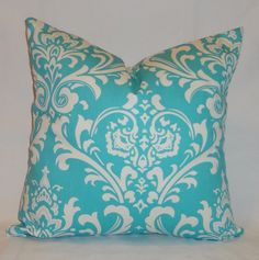One Turquoise Blue Damask Pillow Cover Decorative Throw Pillow