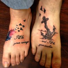 Brother and sister tattoos by Erik Lafave and Joshua Nordstrom at Deft Tattoo Studio anchor, feather, flying birds, girly www.defttattoostudio.com