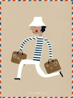 good website for cool posters | retro traveling man #illustration