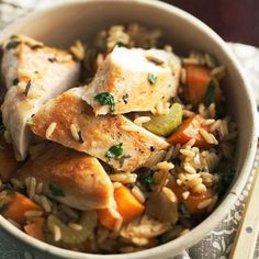 Daily Dish: Chicken and Roasted Vegetable Rice. Get more Daily Dish recipes here: http://bhgfood.tumblr.com/post/19957843759/daily-dish-our-hearty-chicken-and-roasted