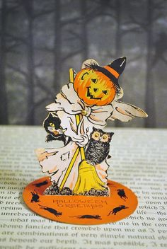 Vintage Halloween 1920's Stand up Place Card by Whitney. $25.00, via Etsy.
