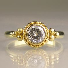 22k Gold Granulated Moissanite Engagement Ring by JanishJewels, $895.00