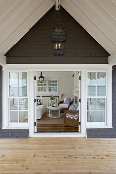 Charcoal shakes, knotty pine, French doors