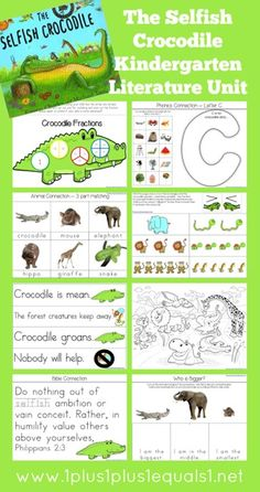 Kindergarten Literature Unit Study Printables to go along with the book,  Selfish Crocodile   -- FREE from @1plus1plus1 #Kindergarten