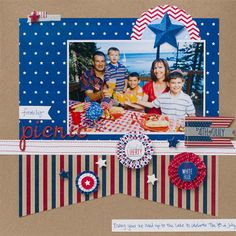#papercraft #scrapbook #layout.  pebbles let freedom ring collection