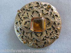 Antique Victorian Edwardian Bezel Topaz Jewel Gold Brass Filigee Powder Compact