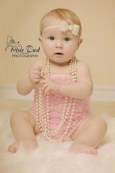 Baby headband, newborn headband, adult headband, child headband and photography prop The ELEGANT all pearl bow exclusive sprinkle headband. $13,99, via Etsy.