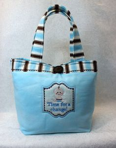 Mini Diaper Bag and Tag  in the hoop for by OmasPlaceEmbroidery
