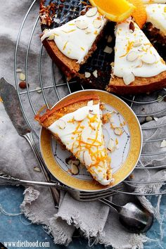 "Flourless Carrot Cake with Mascarpone Frosting ~ via this blog, ""Diethood""."