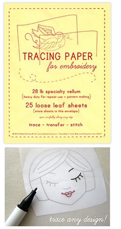Tracing paper for embroidery...I need this!