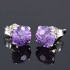 Check out the Spectacular Fire, Sparkle and Beauty of these 2.4ct Starfire Cut Brazilian Amethyst Stud Earrings 925 Silver