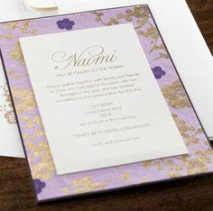 Lavender Blossom Bat Mitzvah Invitation