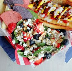 Red, White and Blue Spinach Salad!