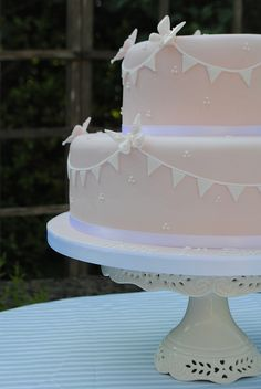 Pink tiered birthday cake by Bath Baby Cakes, via Flickr