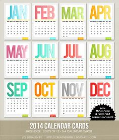 "*NEW* 3x4 2014 Calendar Cards (Digital) Might use these for 2014 instead of ""week"" cards"