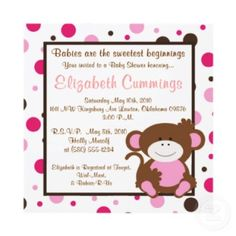 I can't stop pinning cute monkey baby shower invites!