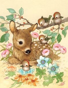 Sweet fawn with birds and flowers .... illustration