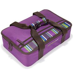 Make the cook-on-the-go's life easier with my lasagna lugger, fit for carrying food to all those holiday potlucks -- now in this season's coolest color: purple!