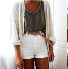 Summer time outfit high waisted shorts cardigan tank top