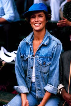 Lauren Hutton, jean jacket, hat, jeans