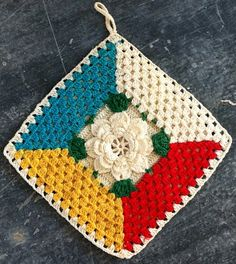 Best Free Crochet » Rose Granny Potholder – Free Crochet Pattern