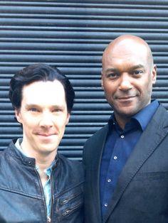 Benedict + Colin {Twitter / colinsalmon24: Mr Cumberbatch and I hard at it tonight. Great fun, good work, top man.}