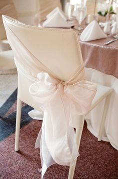 Organza bow tied on an angle.