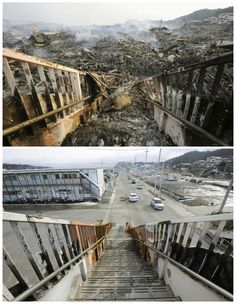 Japan Tsunami before and after photos