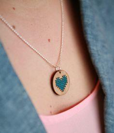 Cute Cross Stitch Necklace by Red Gate Stitchery