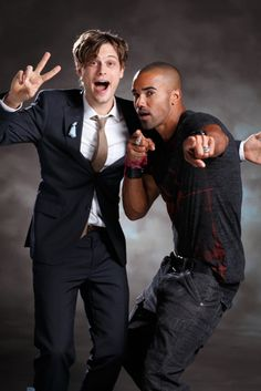 Matthew Gray Gubler and Shemar Moore; I don't know how he stays so serious on Criminal Minds when he's so funny.