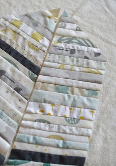 piecing a doll quilt with handprinted fabric from Maze & Vale by leslie.keating, via Flickr