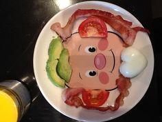 Avocado, bacon, tomato, and a egg heart