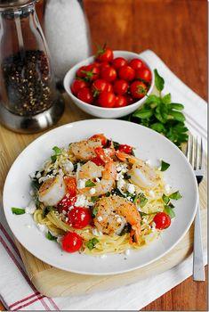 Mediterranean Shrimp Skillet by iowagirleats #Shrimp #Pasta #Fast #Easy