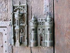 Mons Belgium, the city hall lock and door pull..
