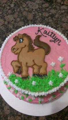 Girl horse cake, no fondant, used royal icing for horse