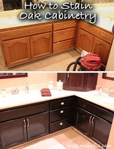 how to stain oak cabinets