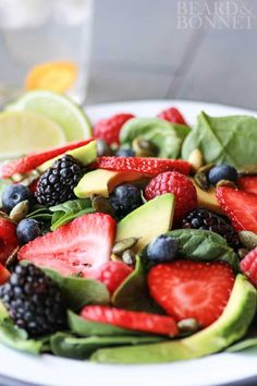 Berry and Avocado Salad With Cilantro Dressing (Gluten Free and Vegan)