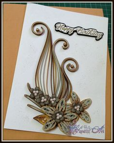 paper craft, quill card, paper quilling, rosalia card