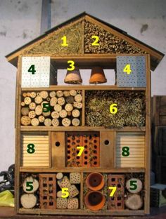 DIY ~ Take advantage of the winter, when there is less work in the a garden, to design yourself, very easily and using only recycled materials, one (or more) Bug house(s) that you can install in areas sheltered from bad weather. bees, bugs, flower pots, insect hotel, bricks, hous, bug hotel, organic gardening tips, hotels